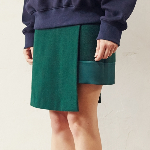 UNBALANCED WOOL SKIRT 50%