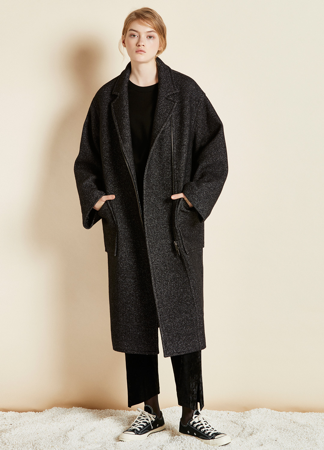 oversize zipper coat black 40%