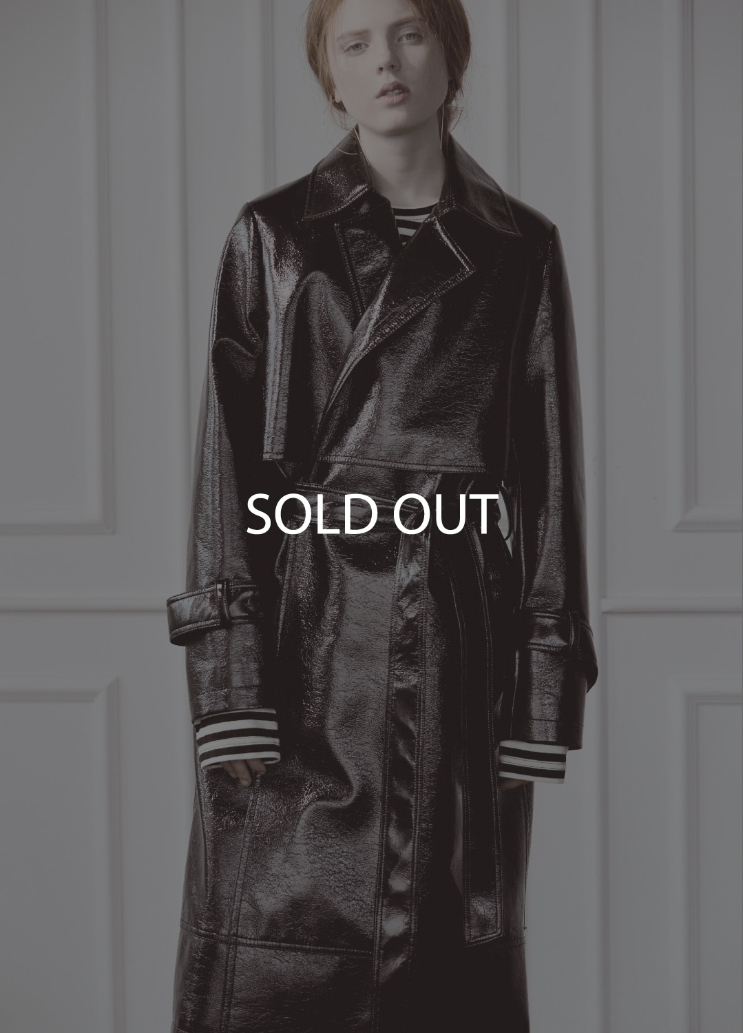 patent leather trench coat Black 30%