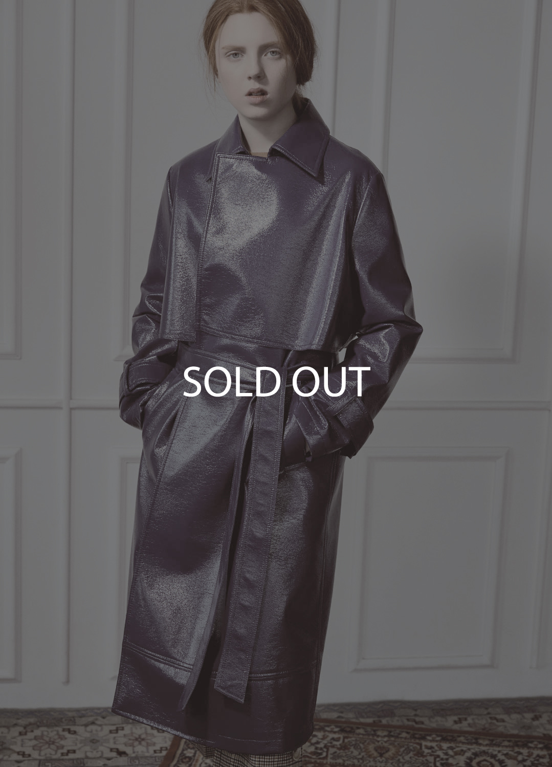 patent leather trench coat Navy 30%