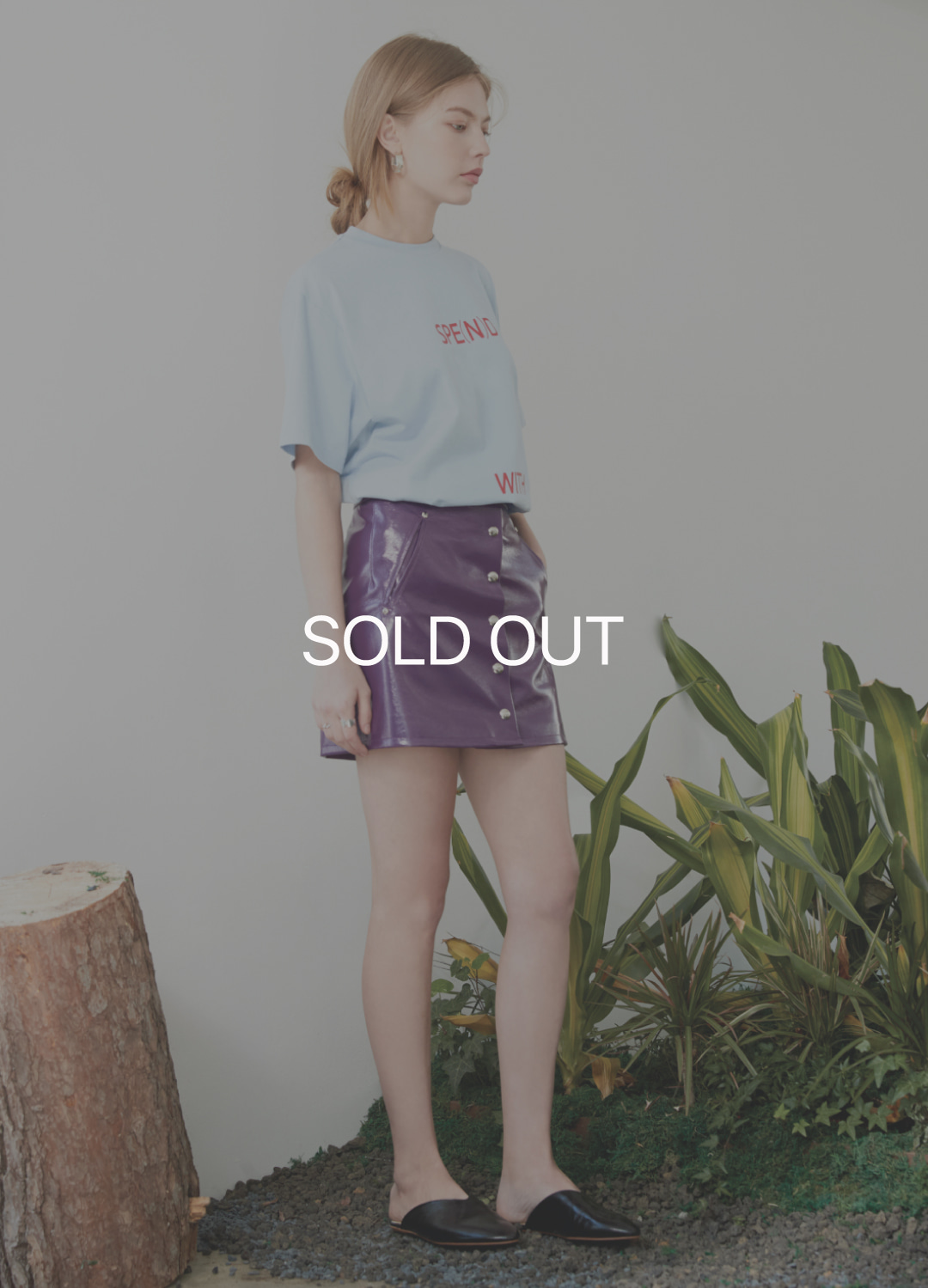 patent snap skirt Purple 30%