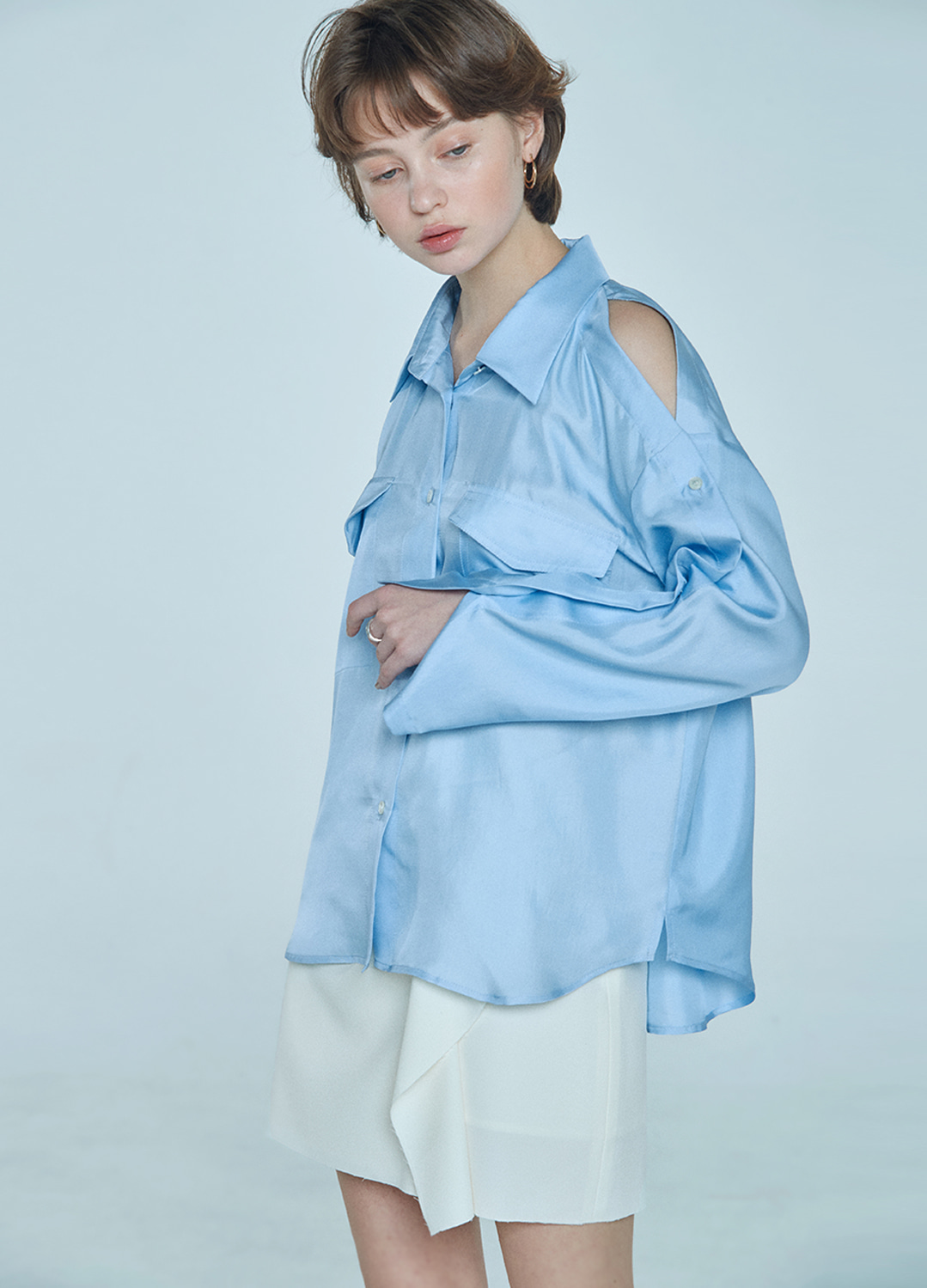 placket sleeve blouse Blue 30%