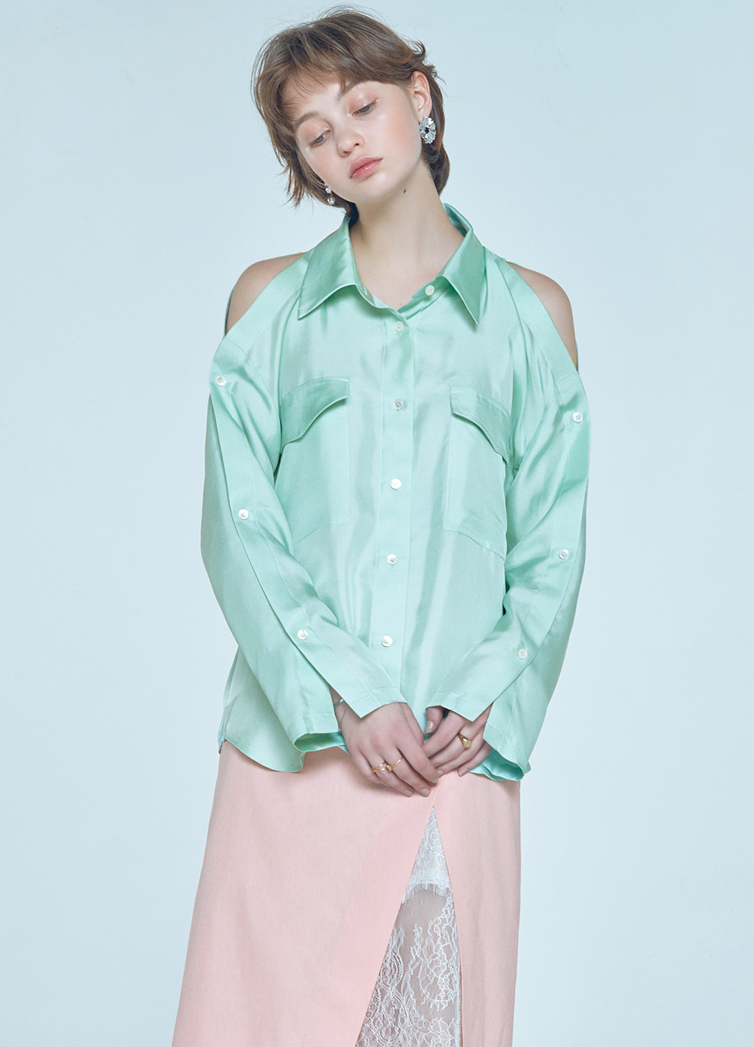 placket sleeve blouse Green 30%
