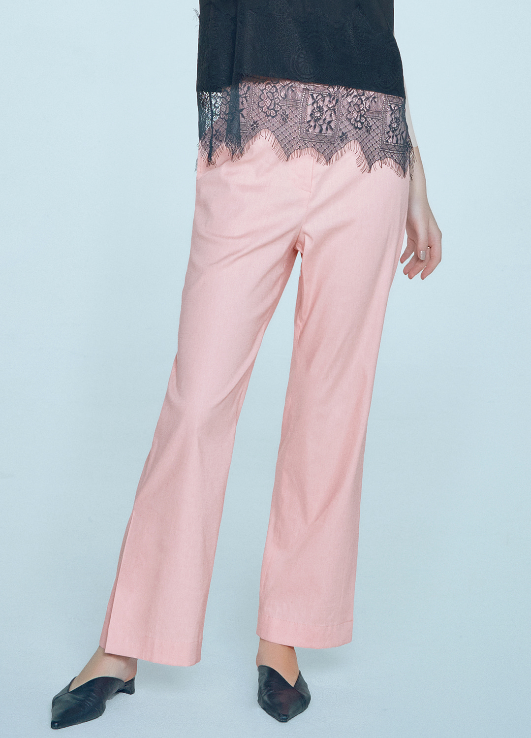 high waist wide pants Pink 40%