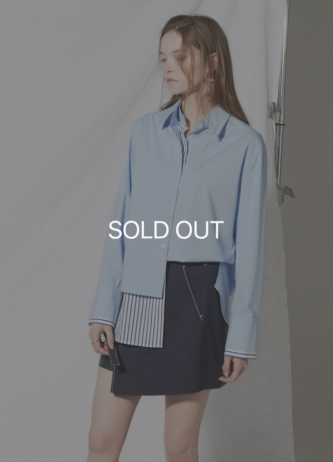 layered detail shirt Blue 30%