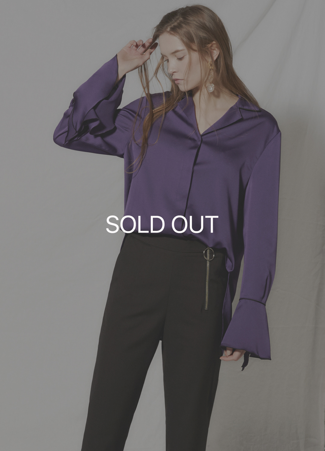 flare cuffs blouse Purple 30%