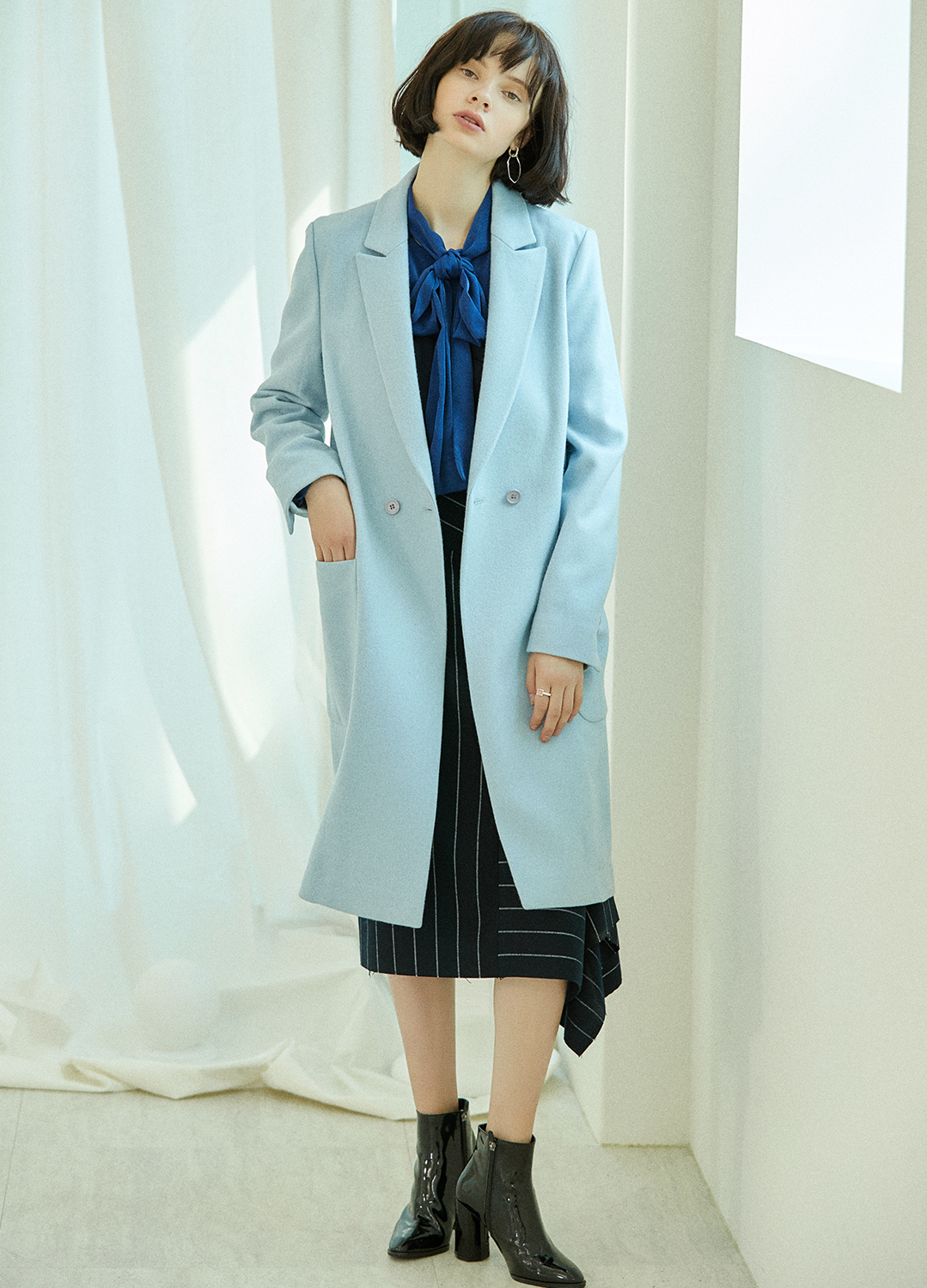 pocket wool coat Blue 30%