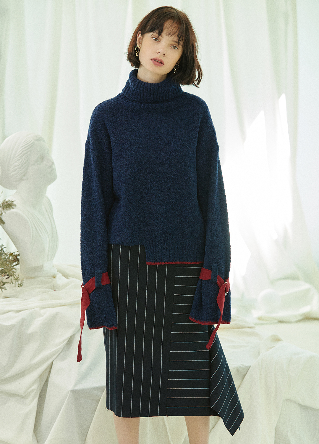 belted sleeve turtleneck sweater Navy 30%