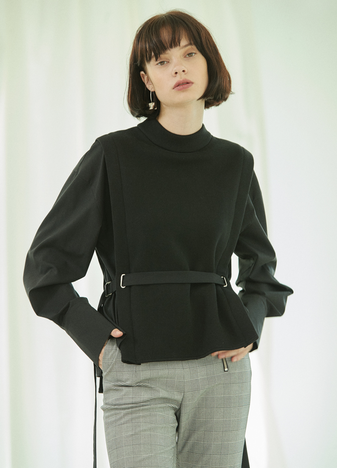 belted shirt mtm Black