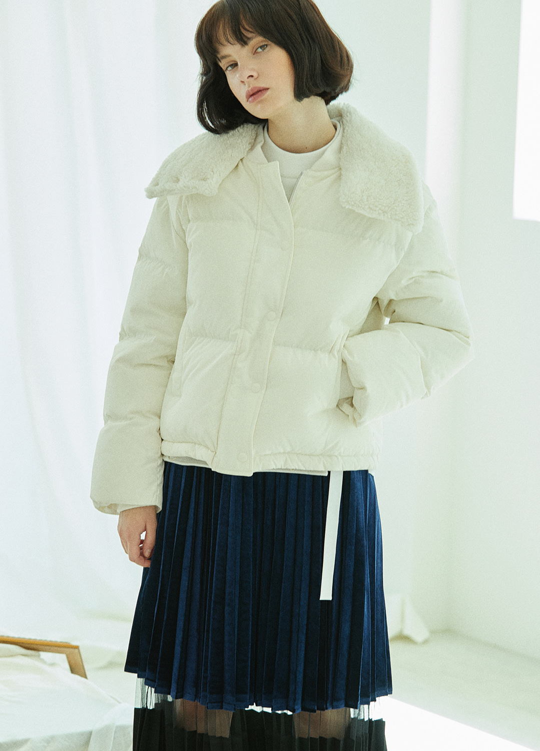 fur detail down jacket White 10%