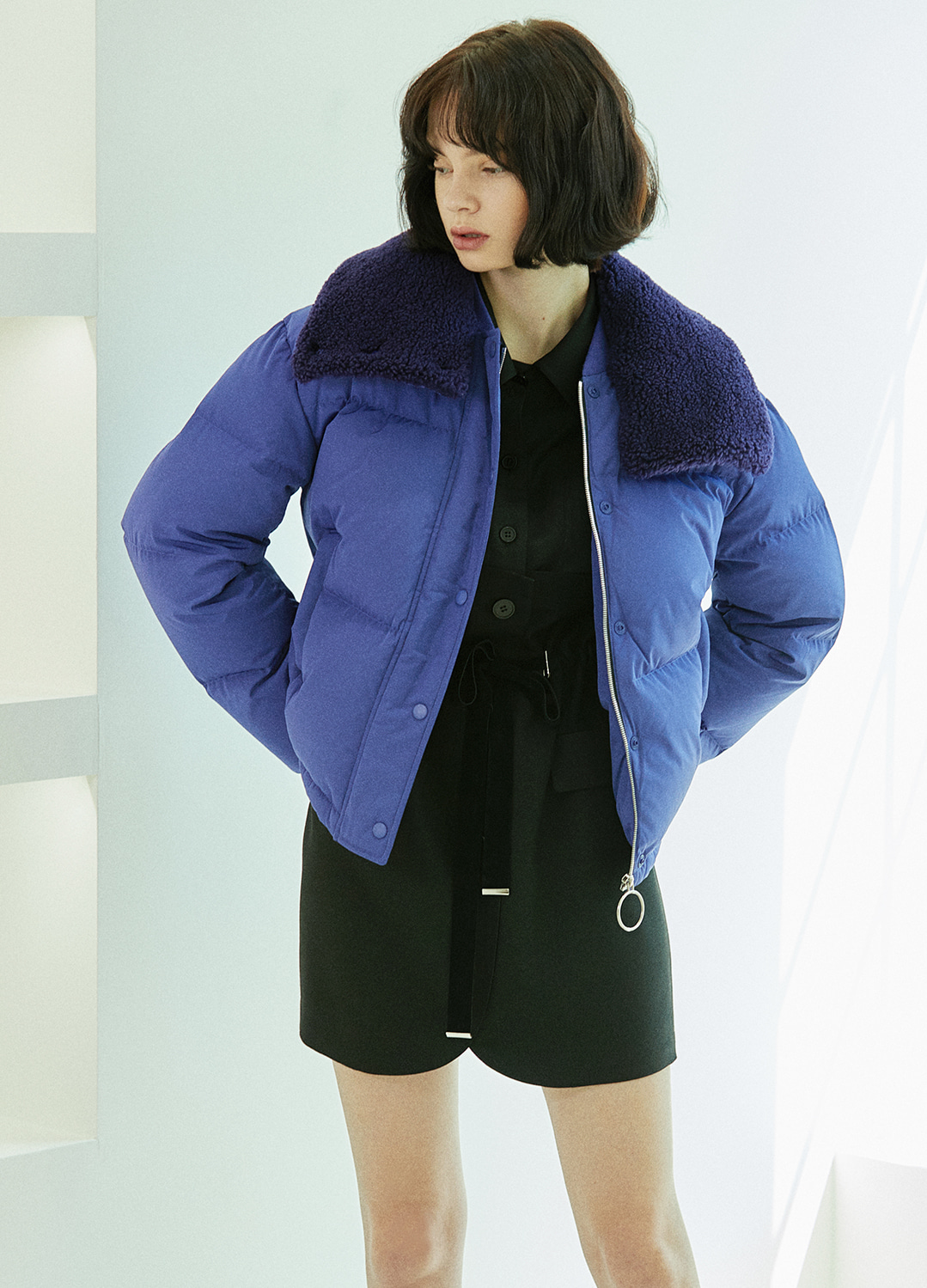 fur detail down jacket Purple 30%