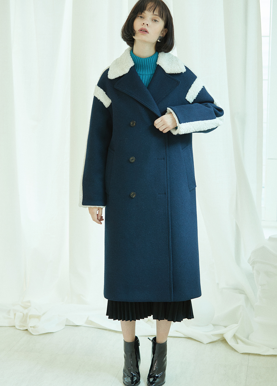 fur trimming double coat Navy 30%