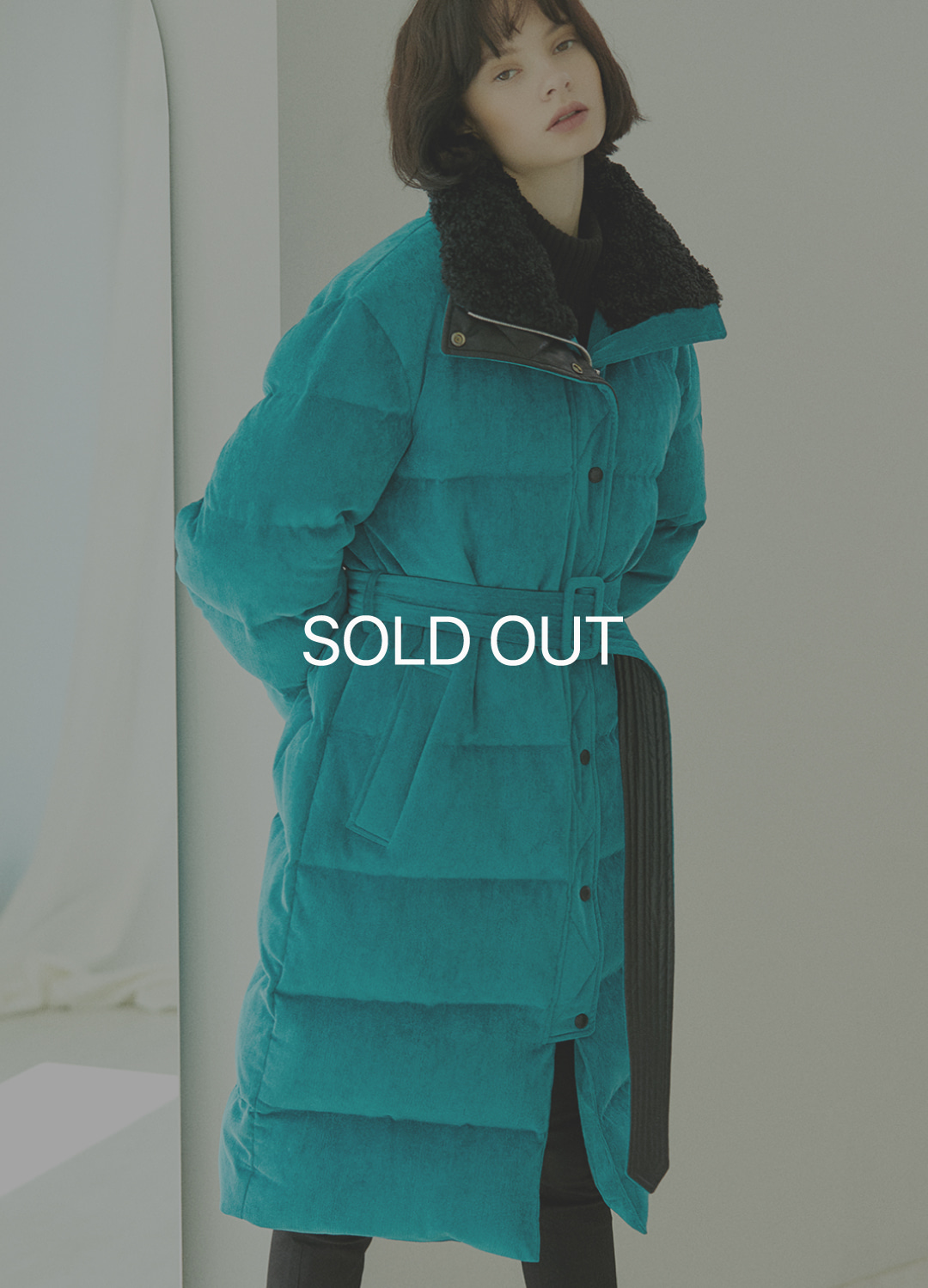 corduroy long down coat Green 30%