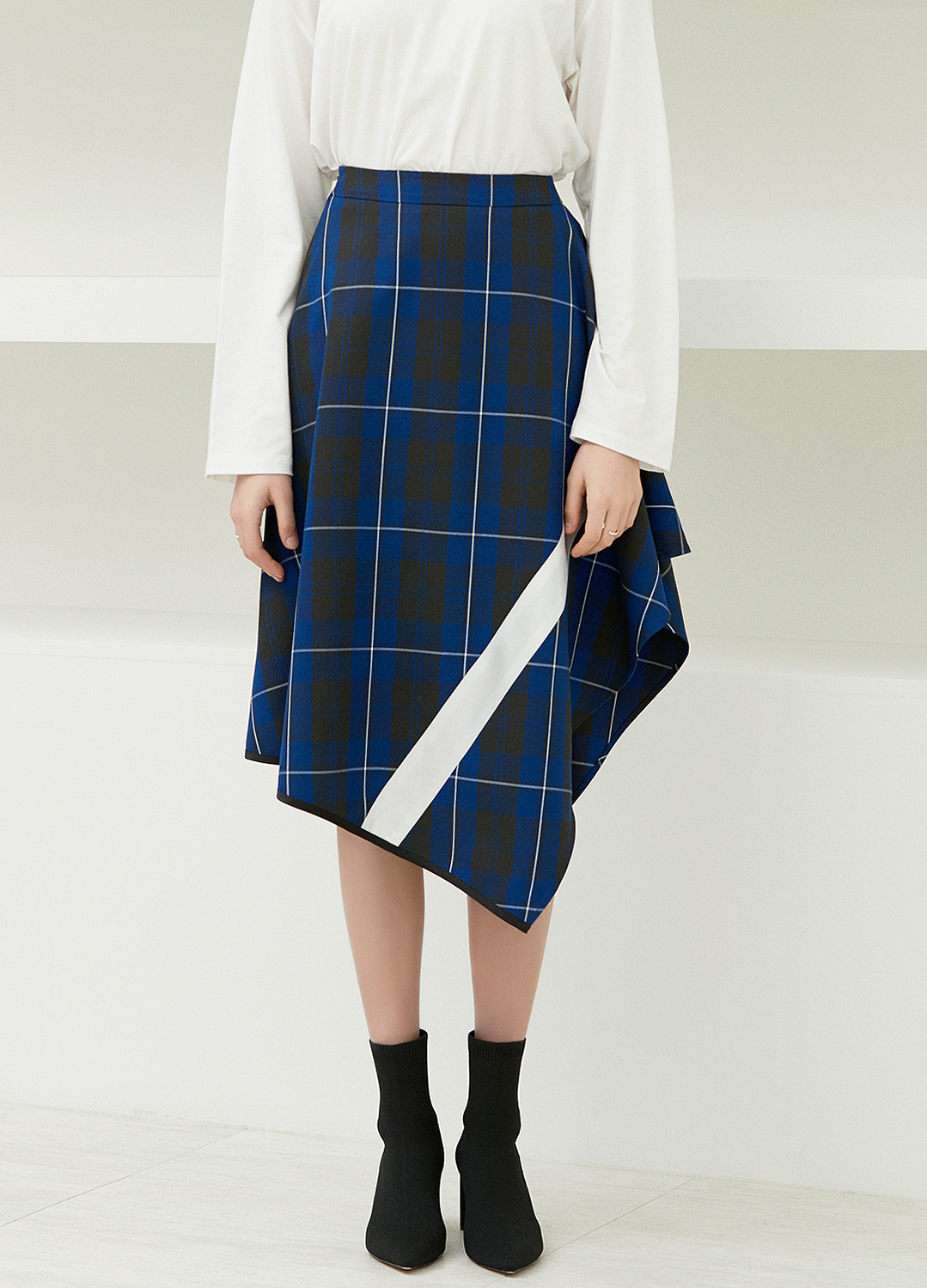 color block flare skirt Blue