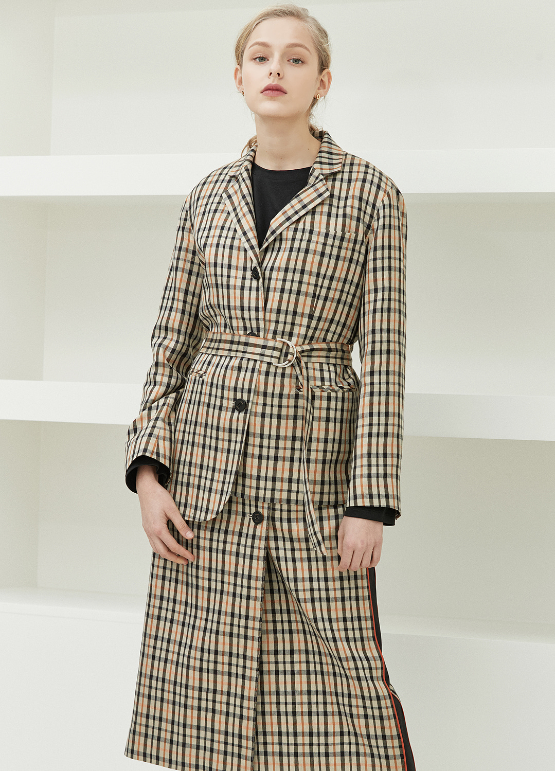 unbalance belted jacket Check 20%