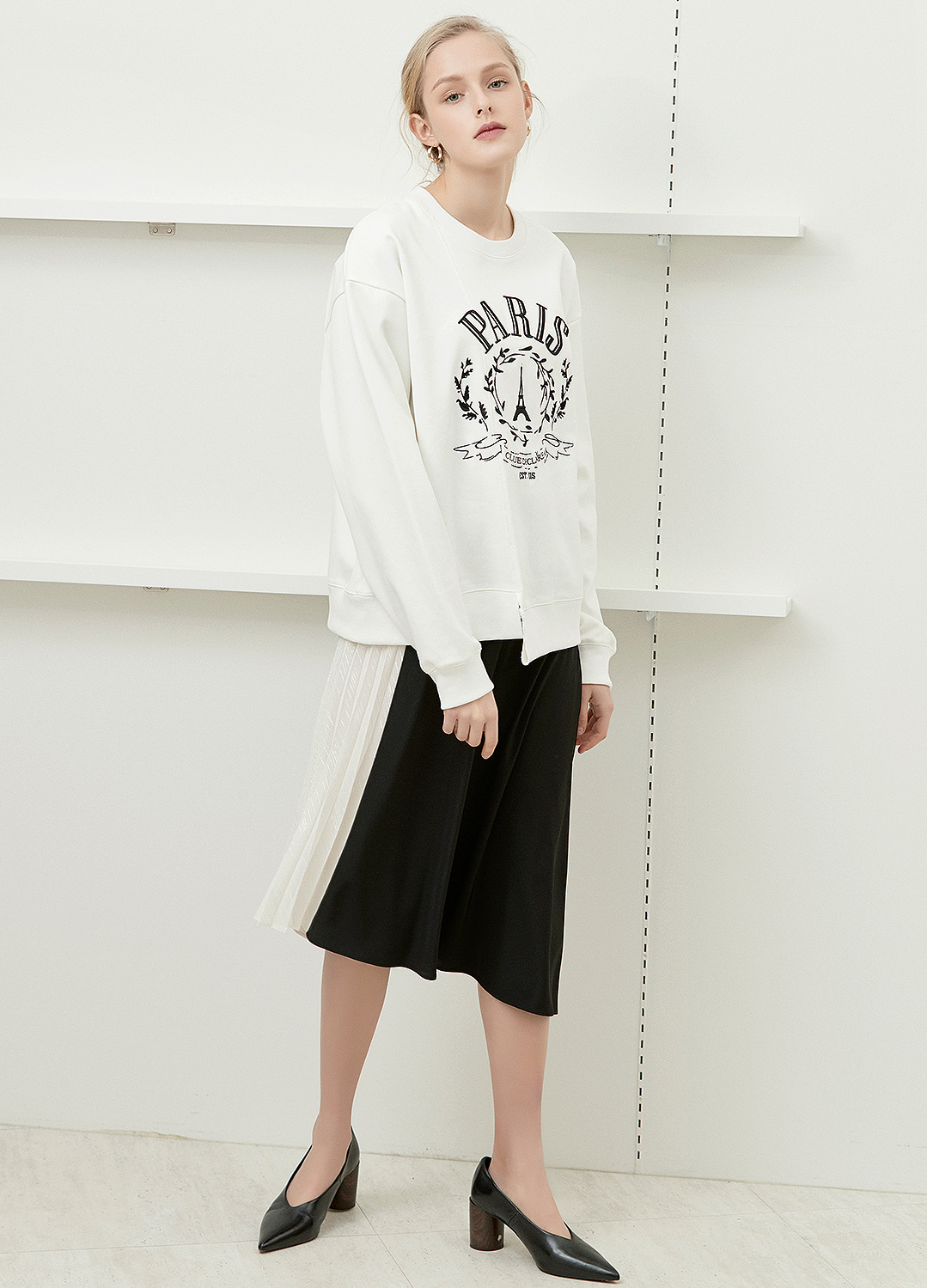 embroidered detail sweat shirt White 20%