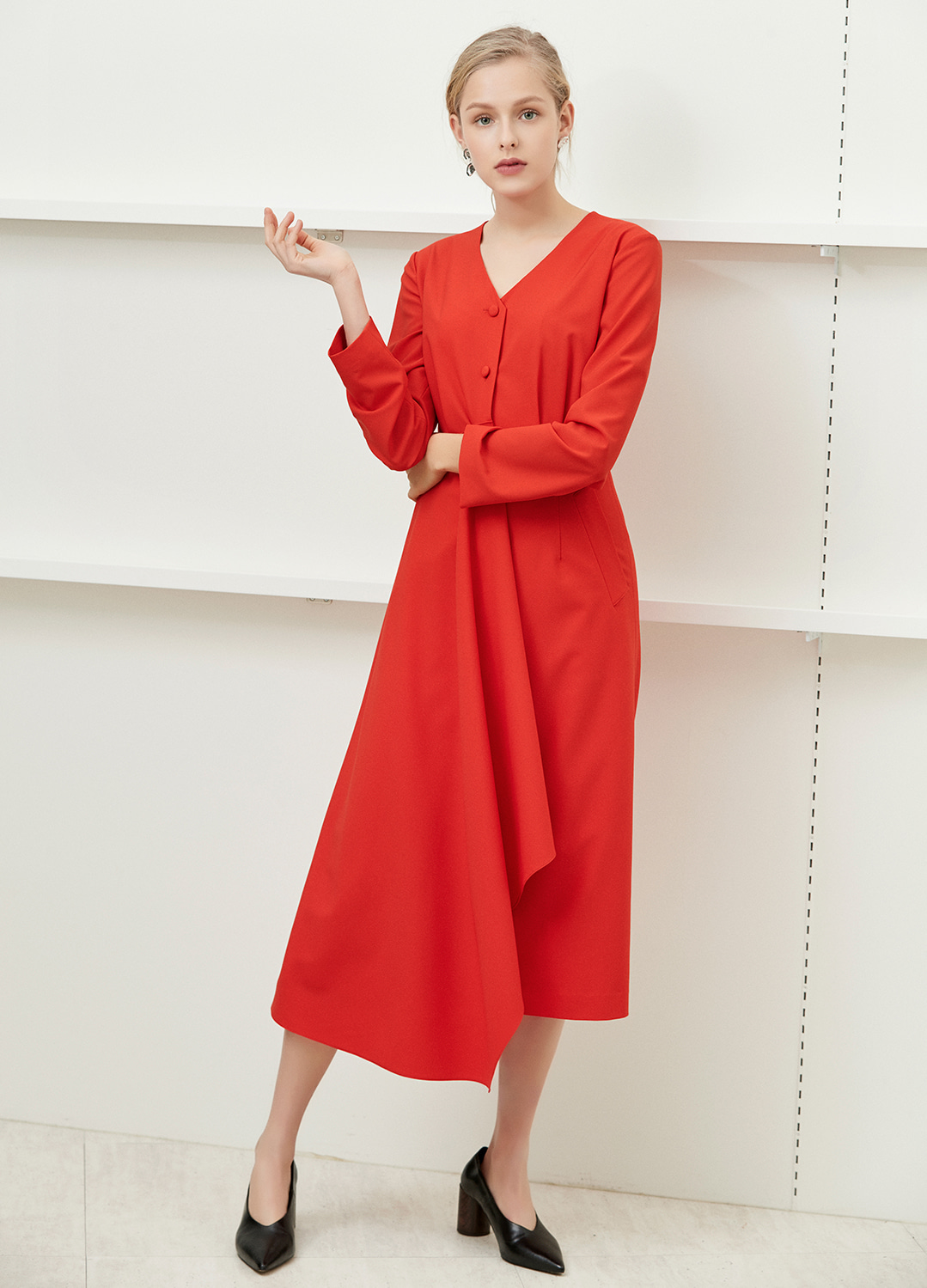minimal long dress Red 20%