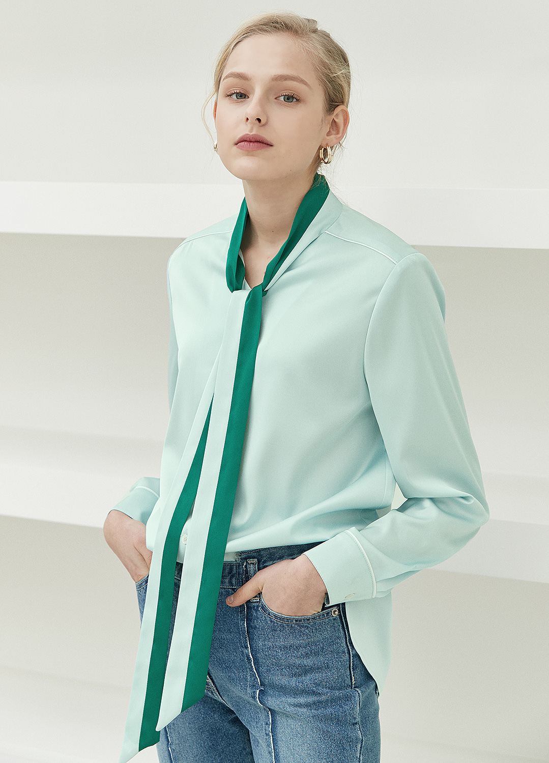 color block tie blouse Green 30%
