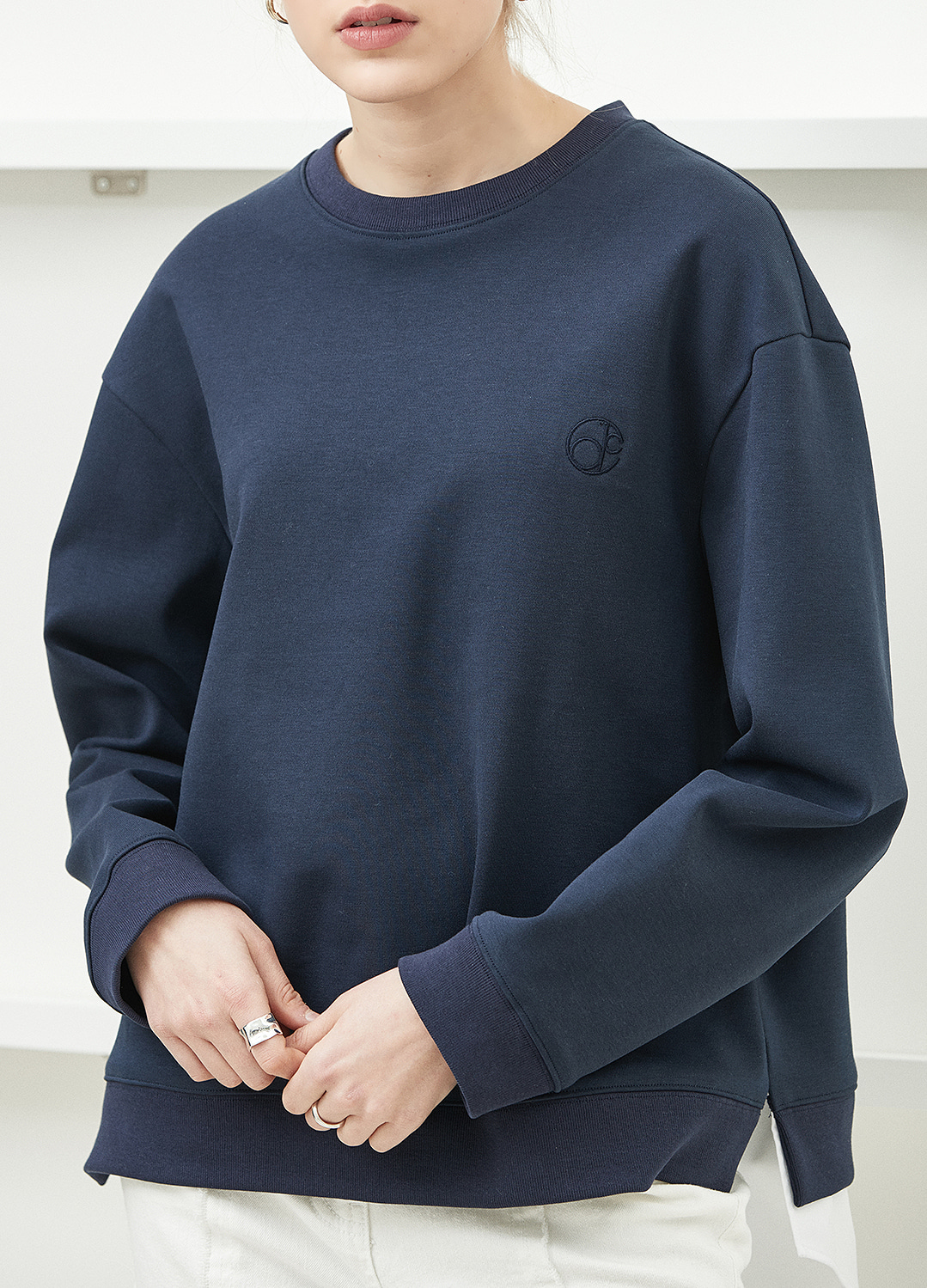 shirt detail sweat shirt Navy