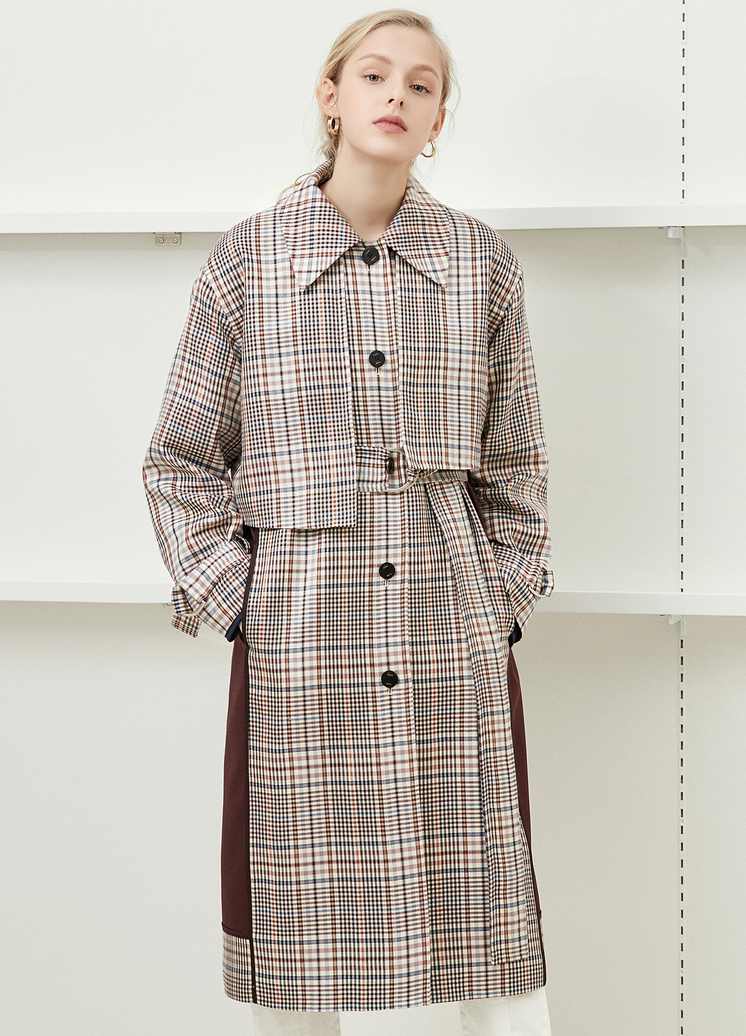 unbalance detail trench coat Check