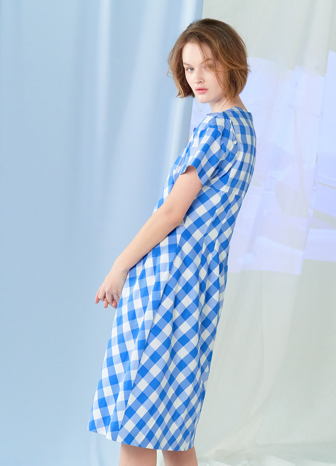 gingham check dress Blue 30%