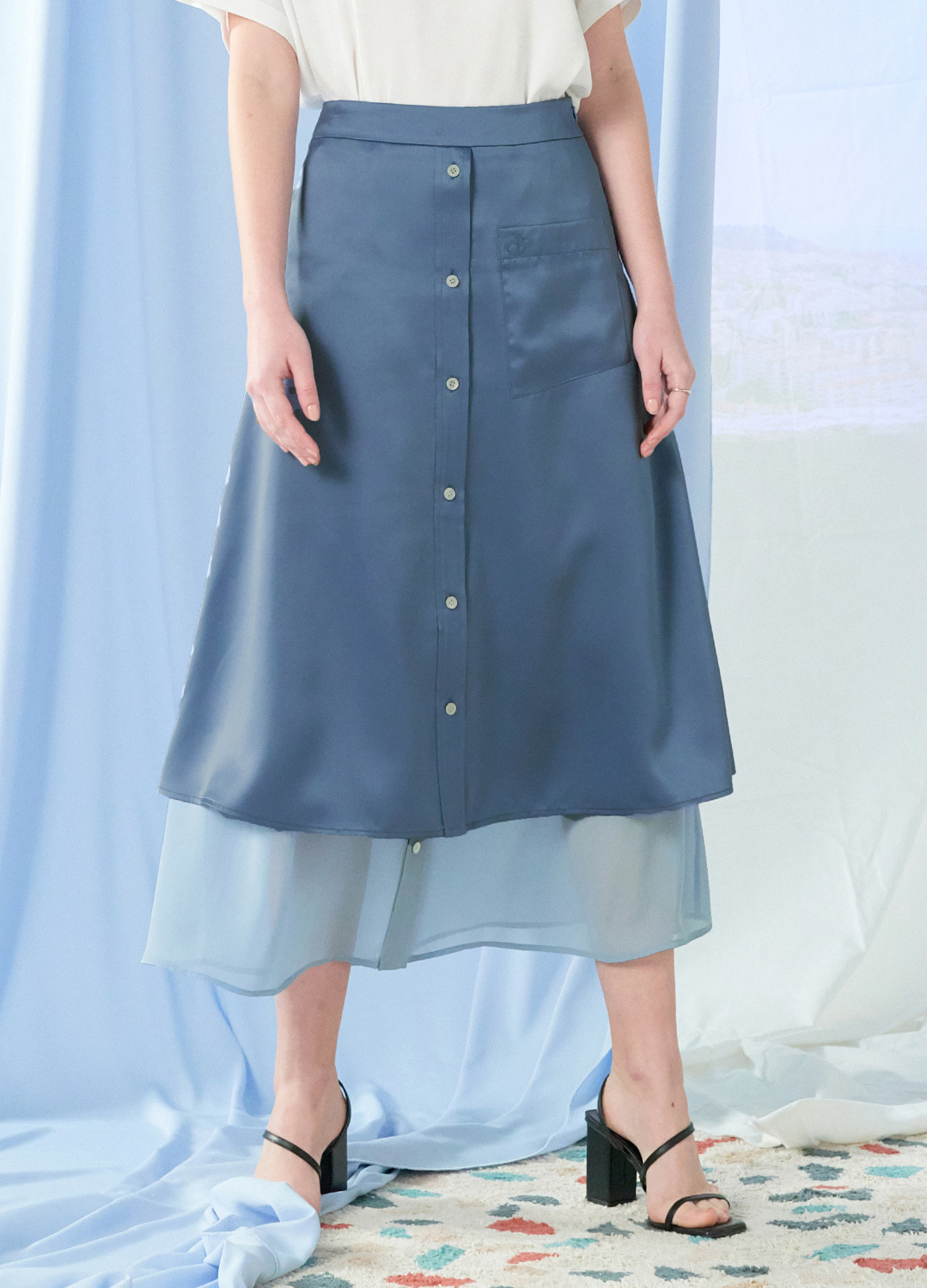 layered flare skirt Blue 30%