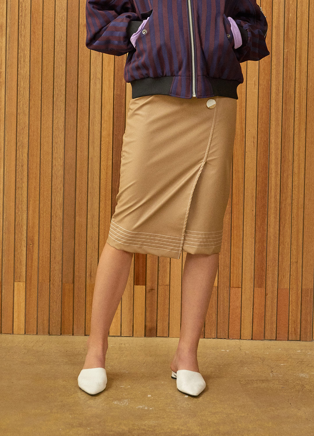 stitch detail wrap skirt Brown