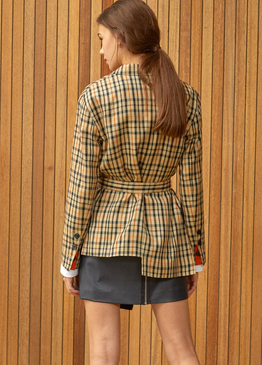 unbalance belted jacket Check