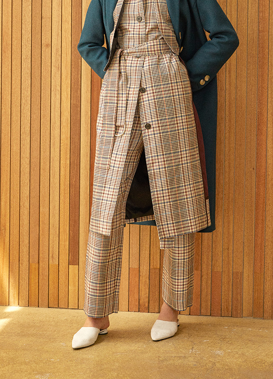 belted high waist pants Check