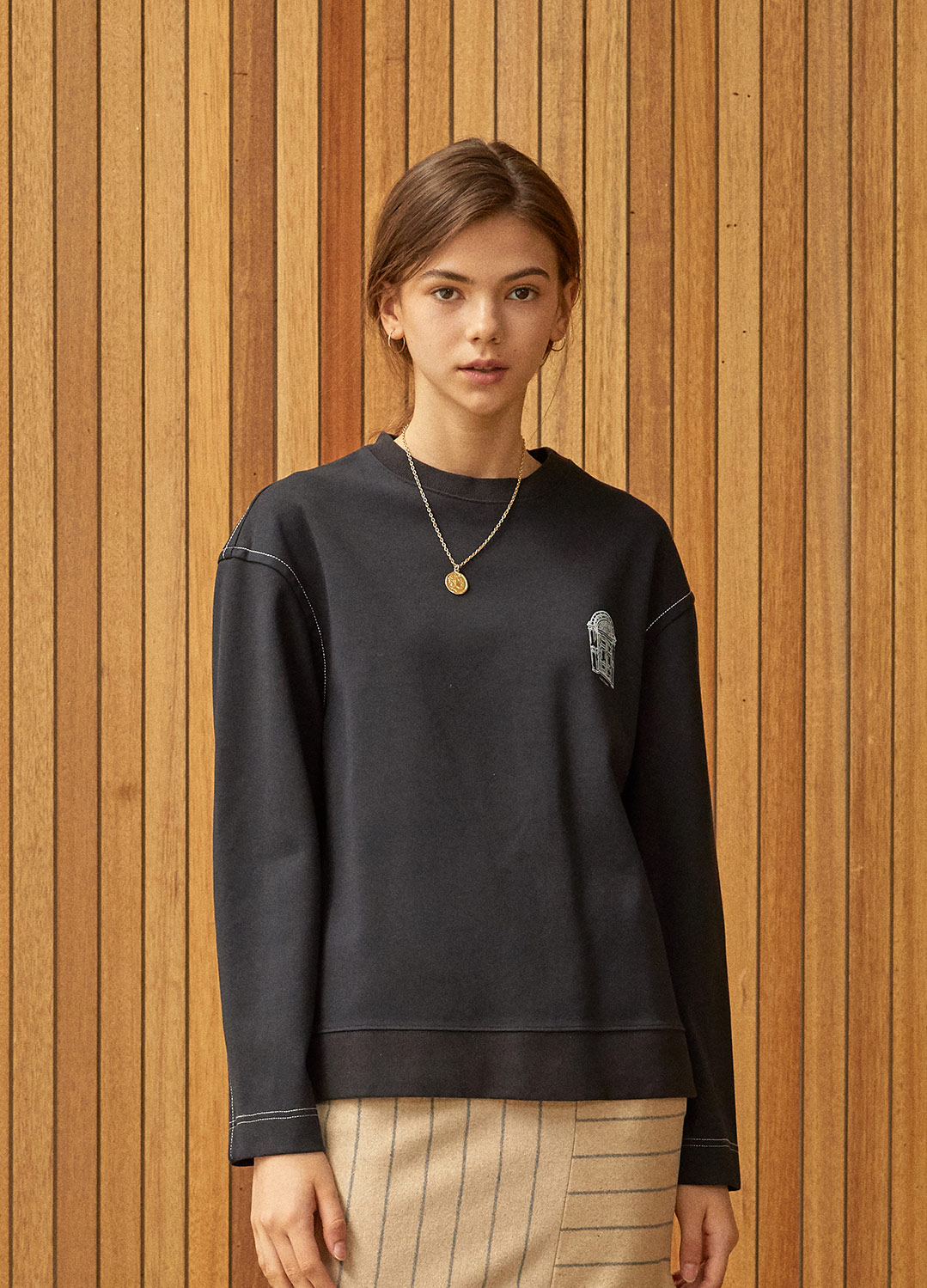 stitch detail sweat shirt Black