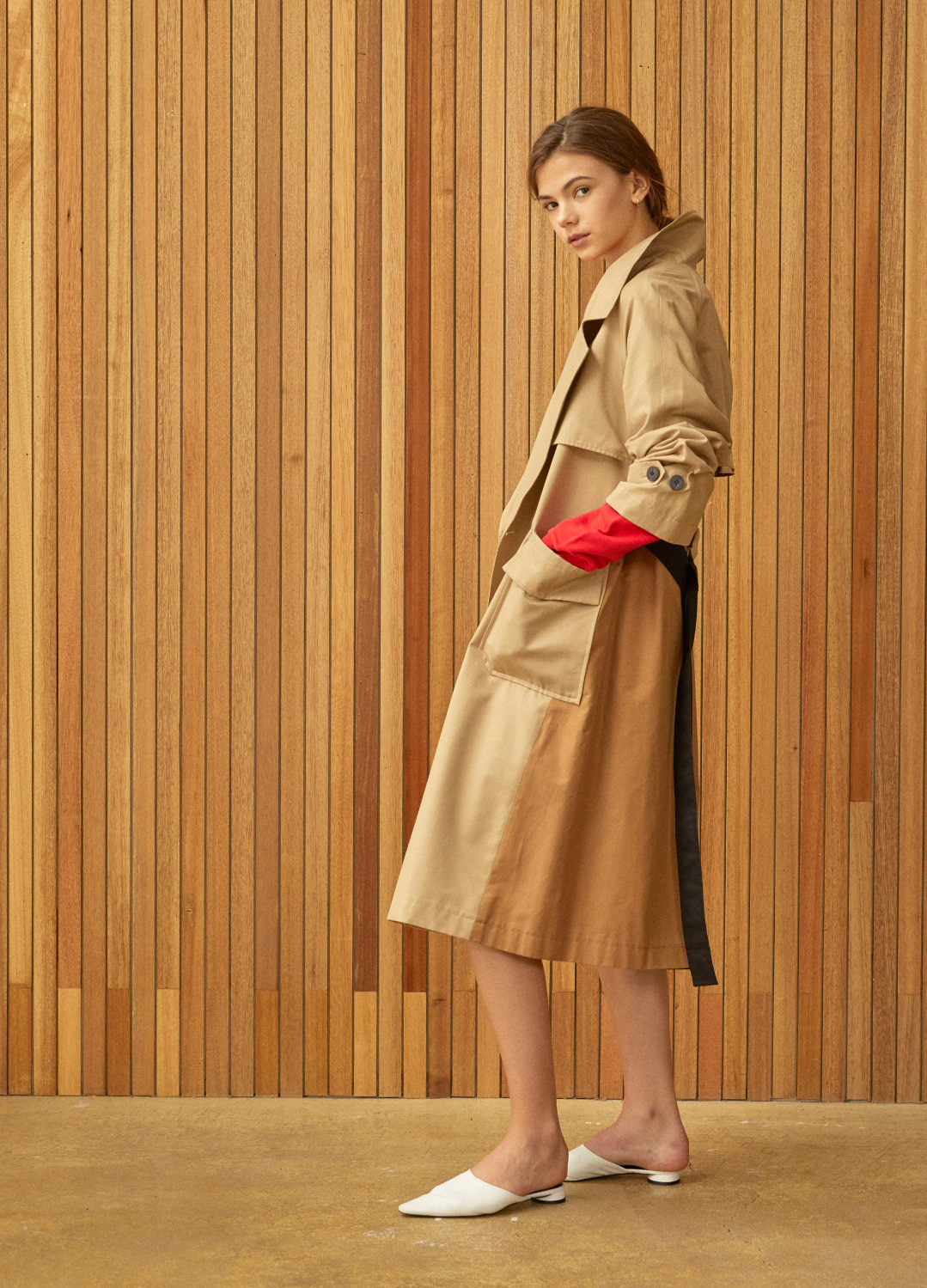 color block trench coat Beige