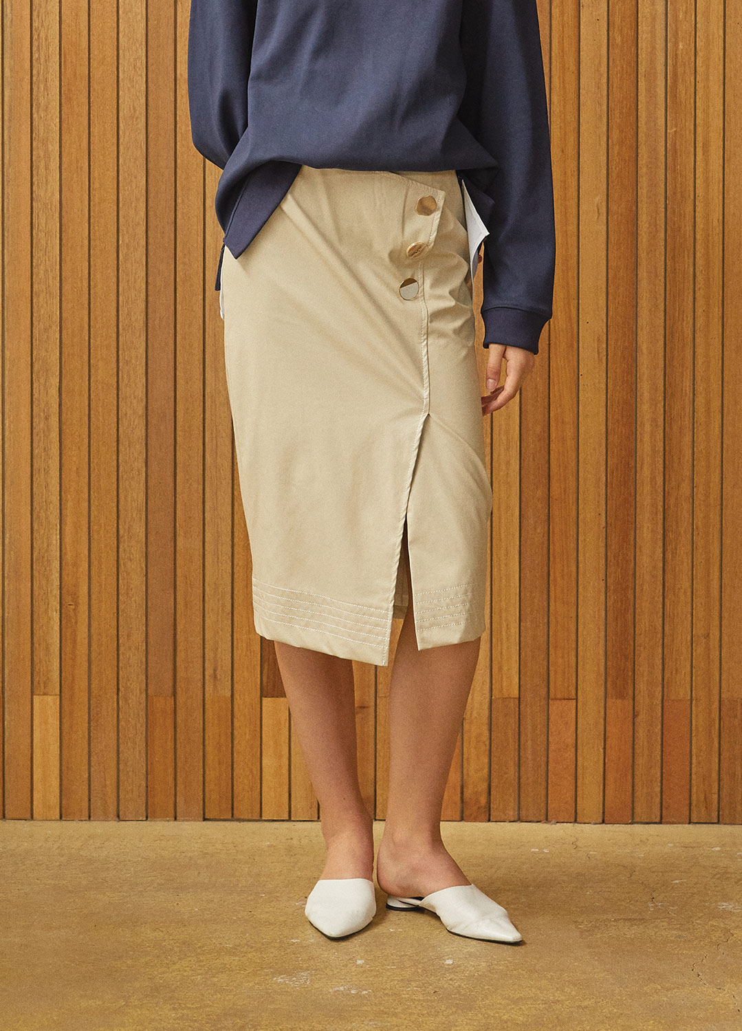 stitch detail wrap skirt Beige