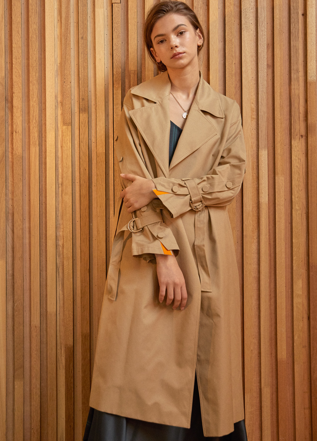 placket sleeve trench coat Beige