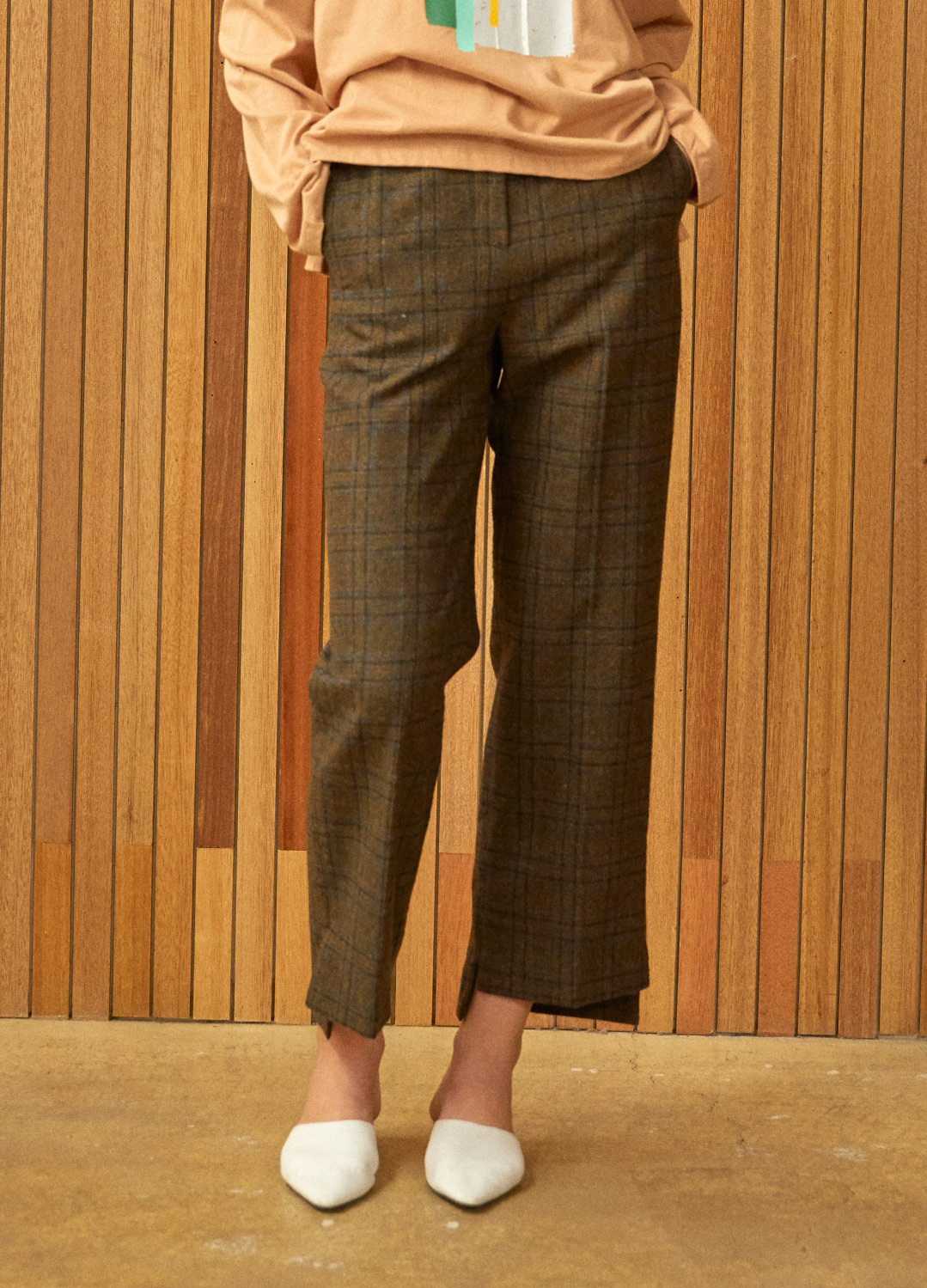 unbalance wide pants Khaki