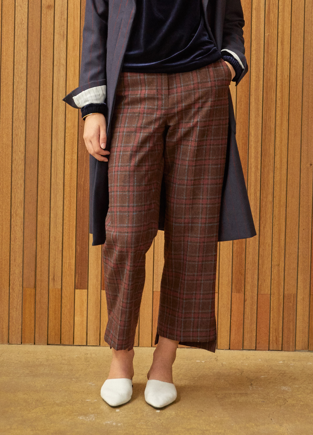 unbalance wide pants Brown