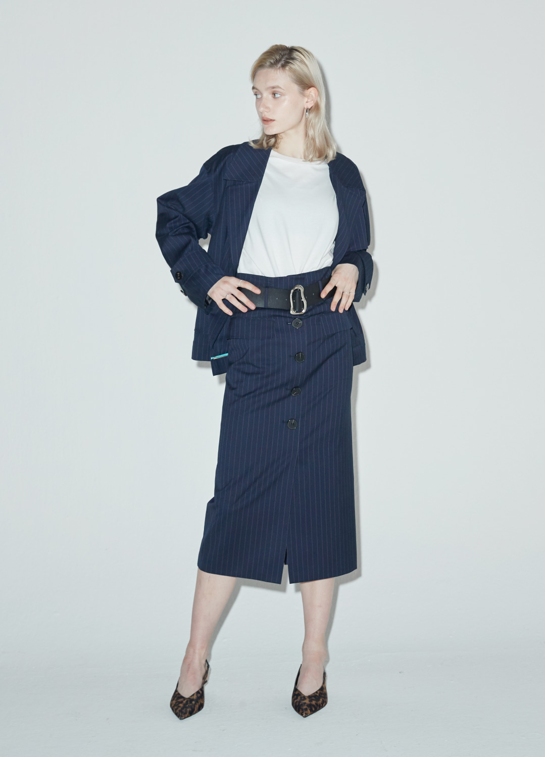 belted mid pencil skirt Navy