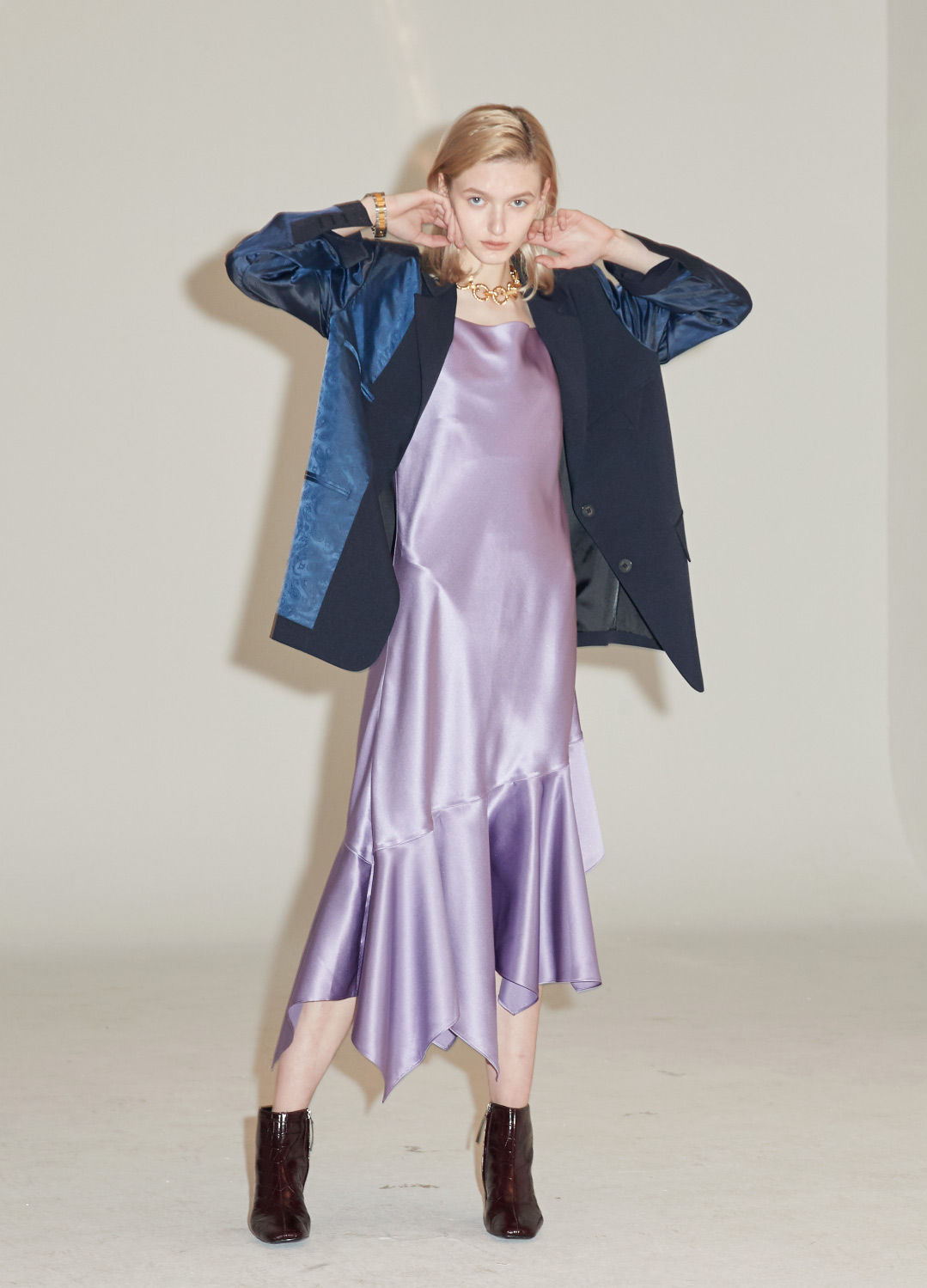 unbalance satin slip dress Purple