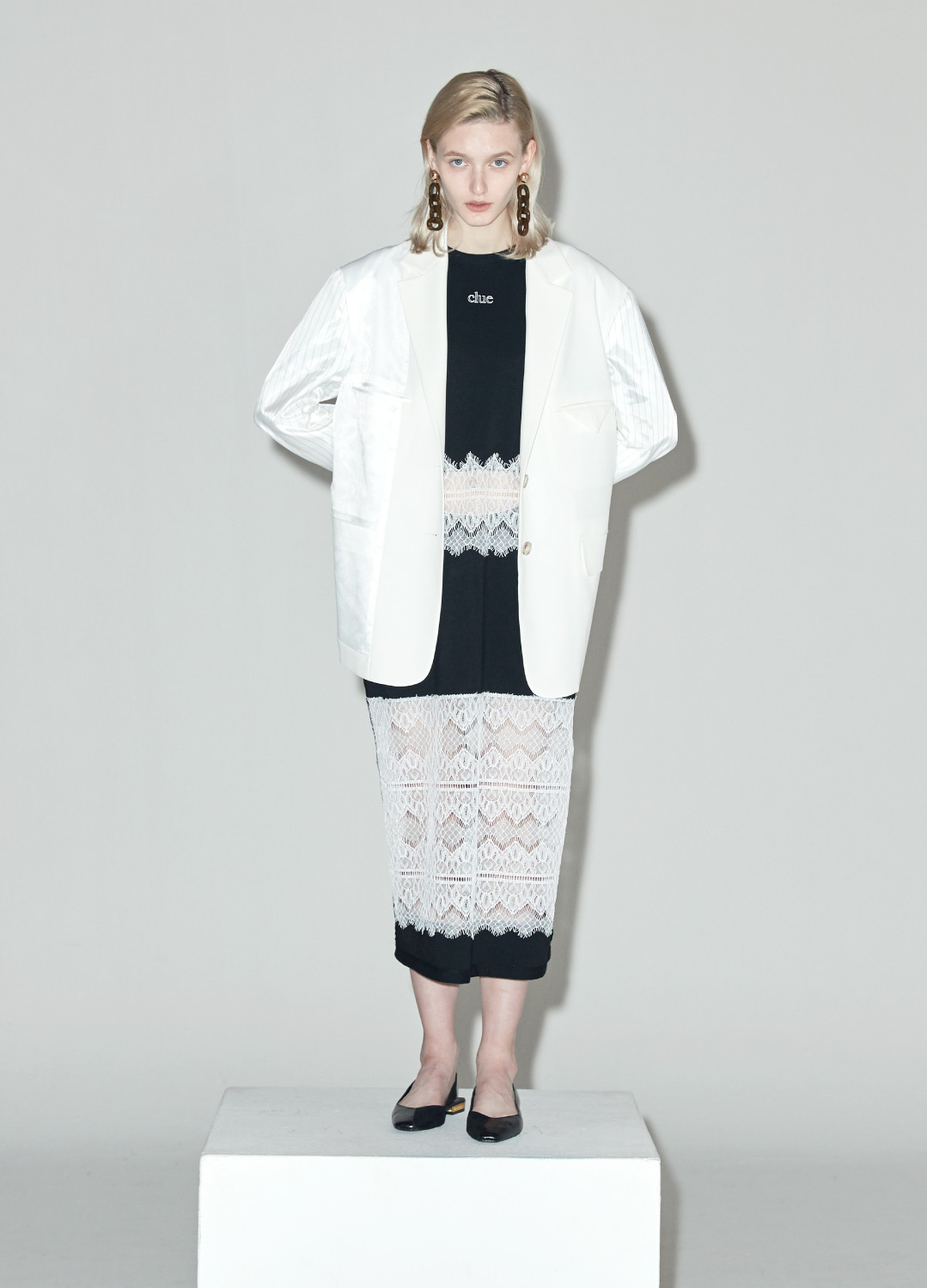 oversized pattern jacket White