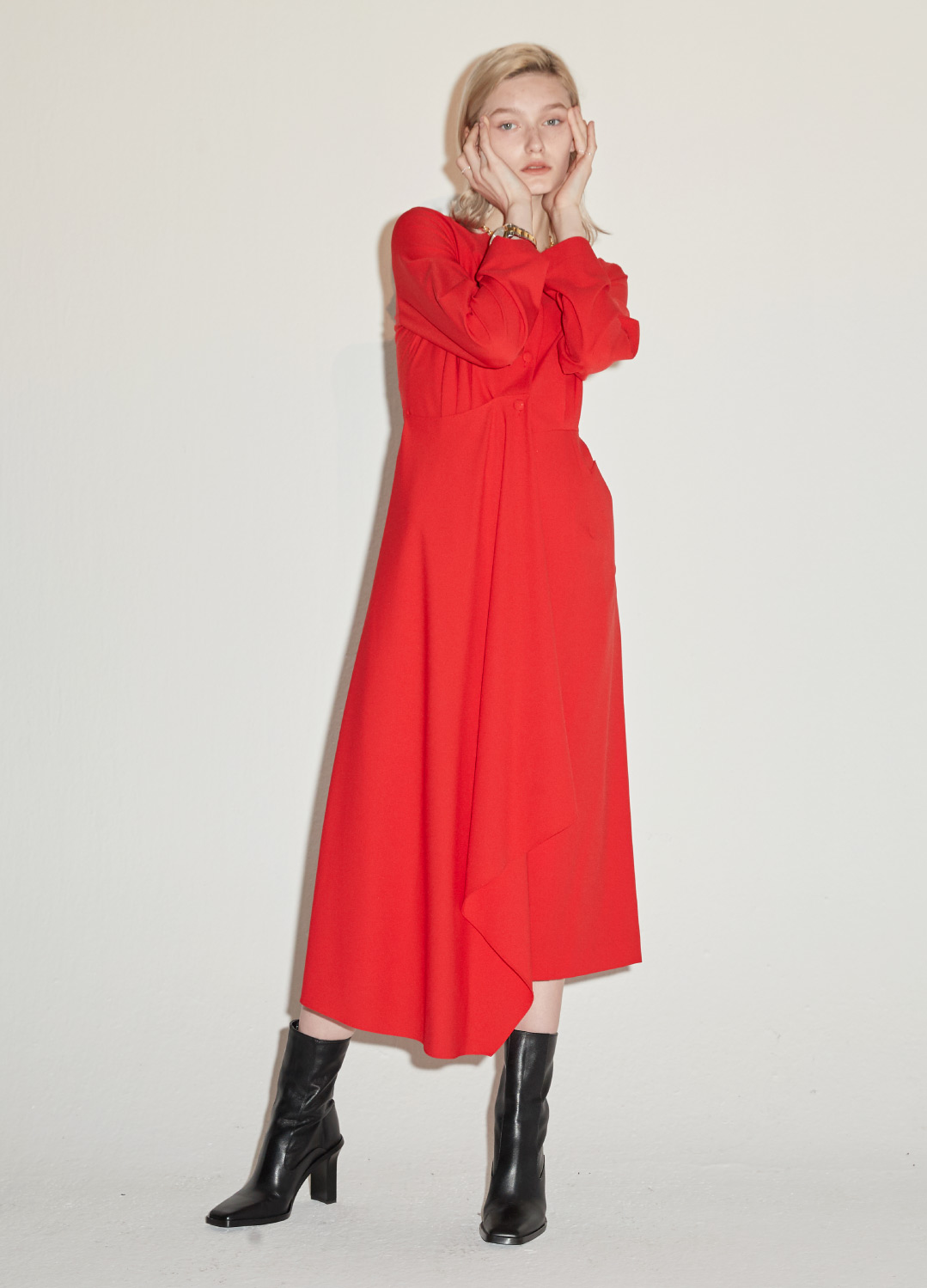 minimal long dress Red