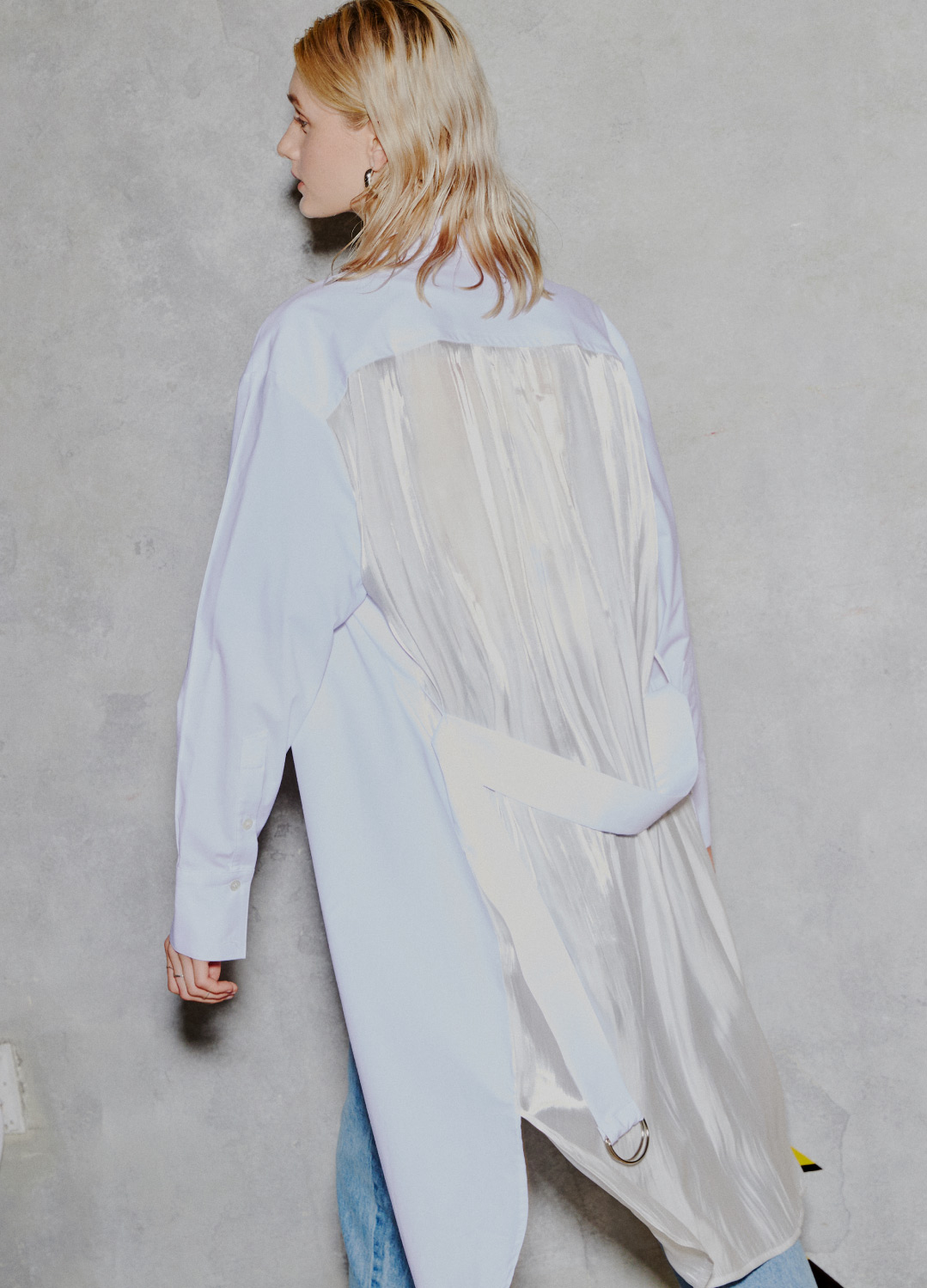 see through long shirt White