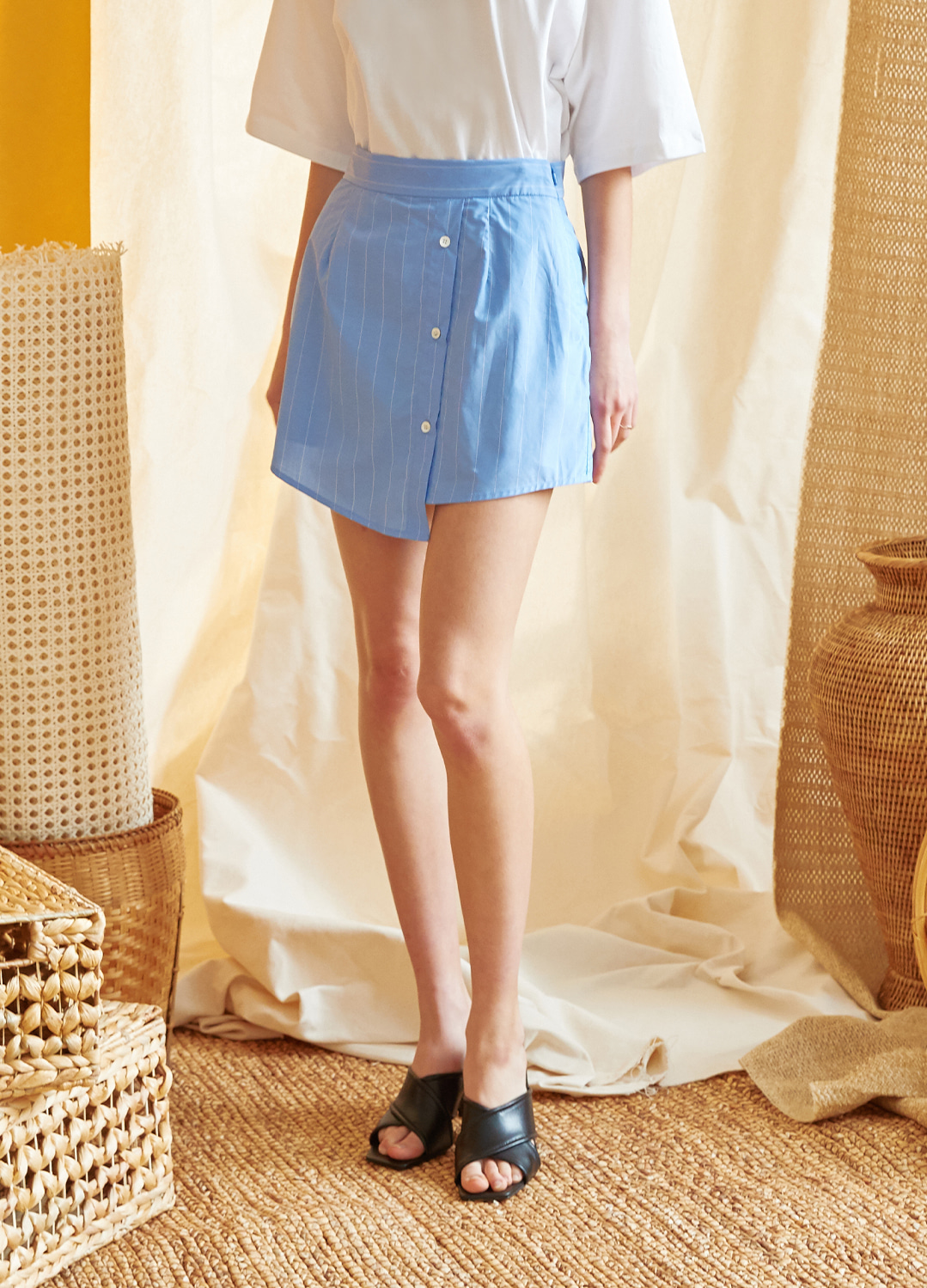 shirt detail skirt pants Blue
