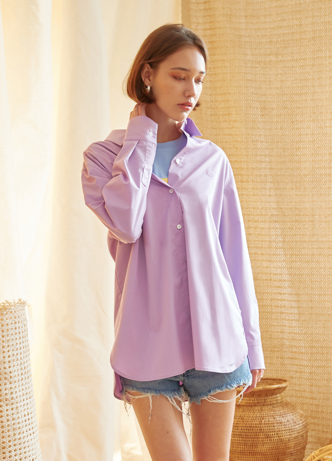 two way  oversize shirt Purple