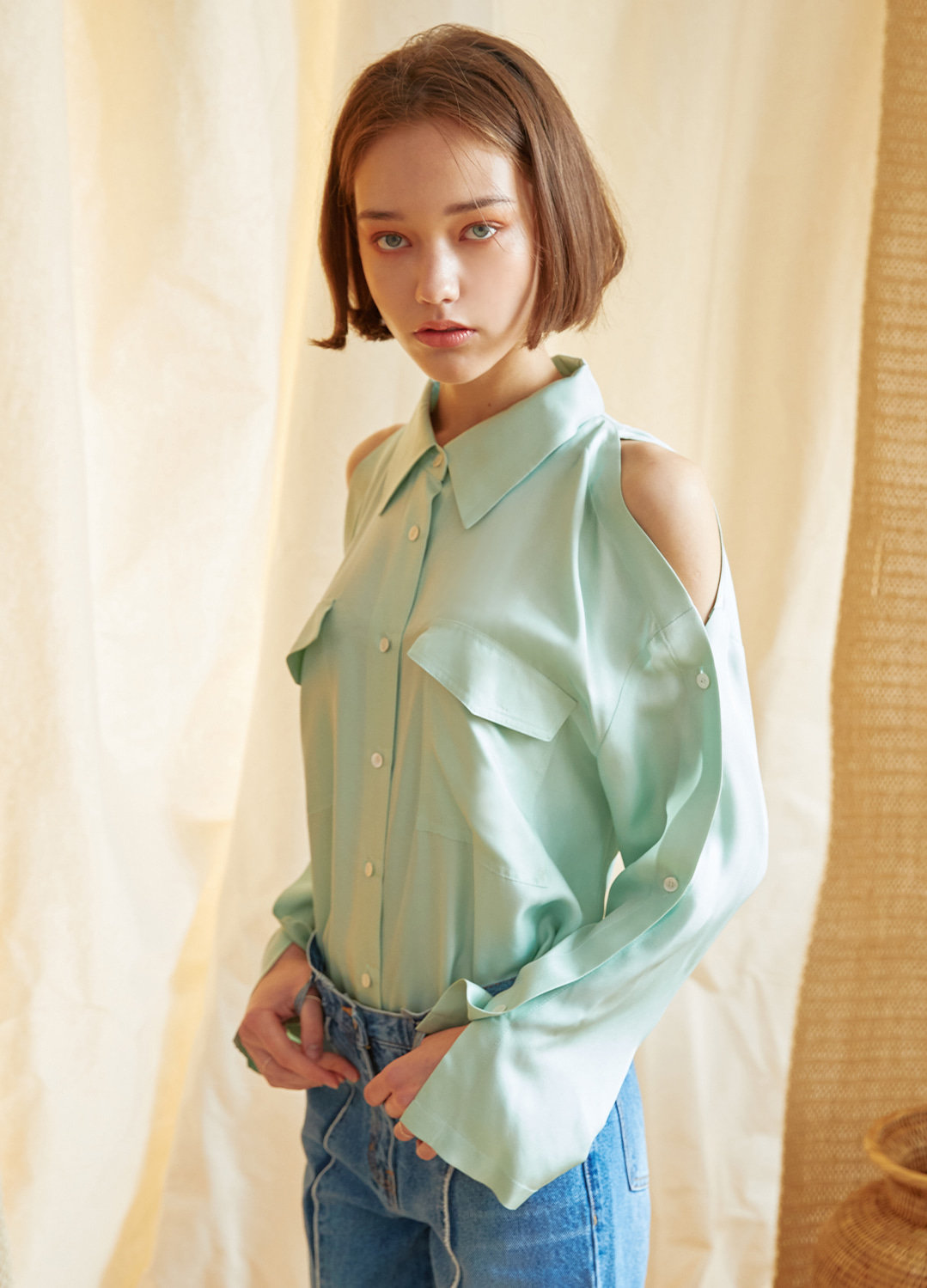 placket sleeve blouse Green