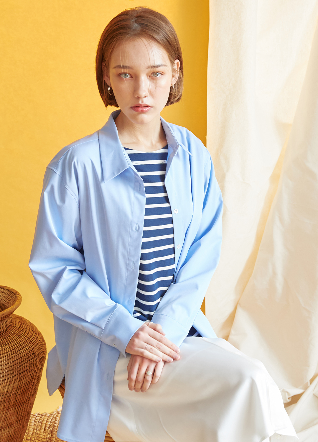 two way  oversize shirt Blue