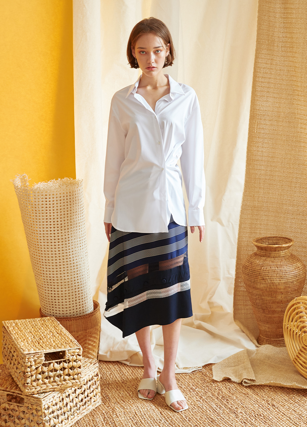 two way  oversize shirt White