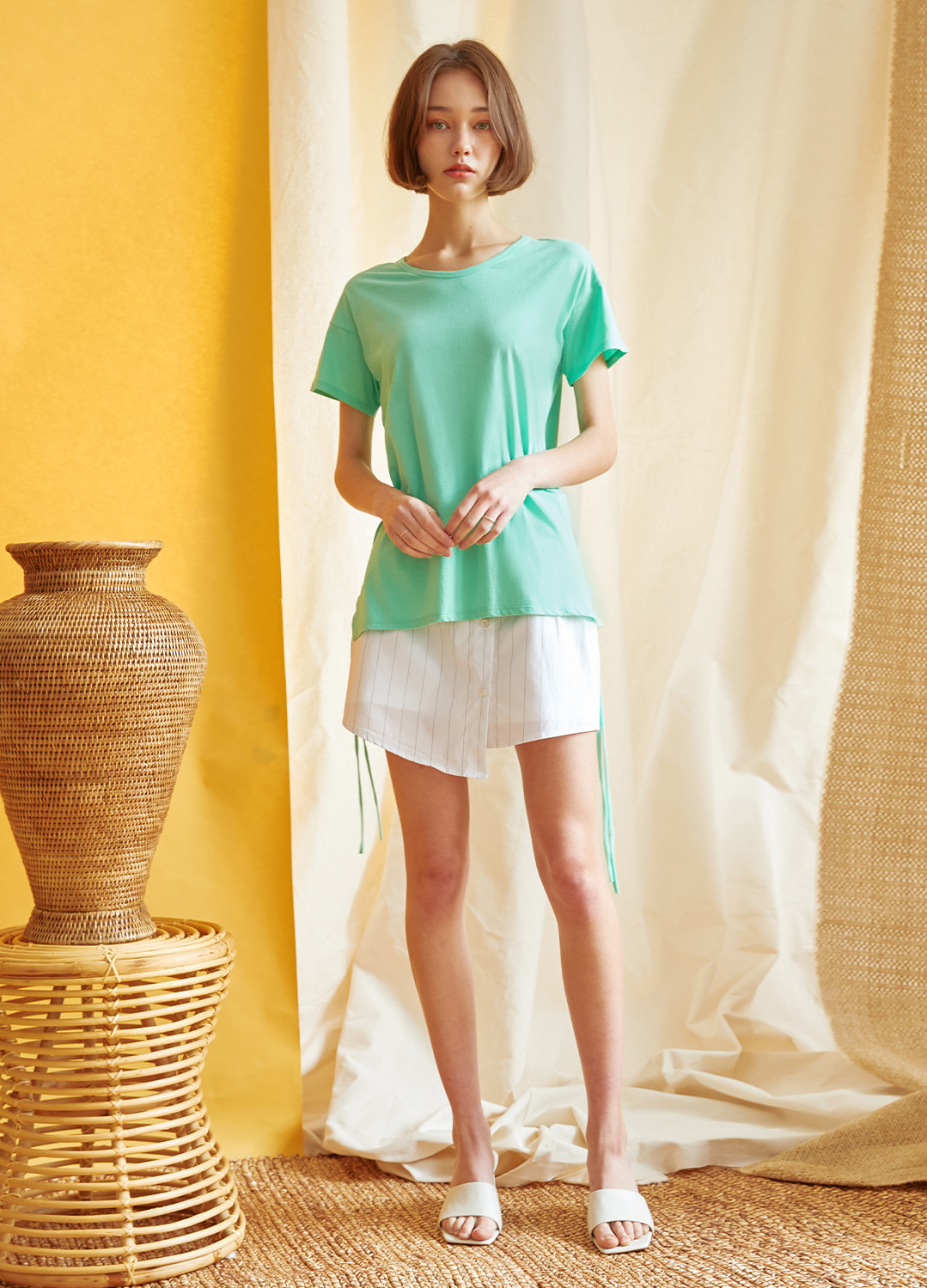 shirring detail t-shirt Green