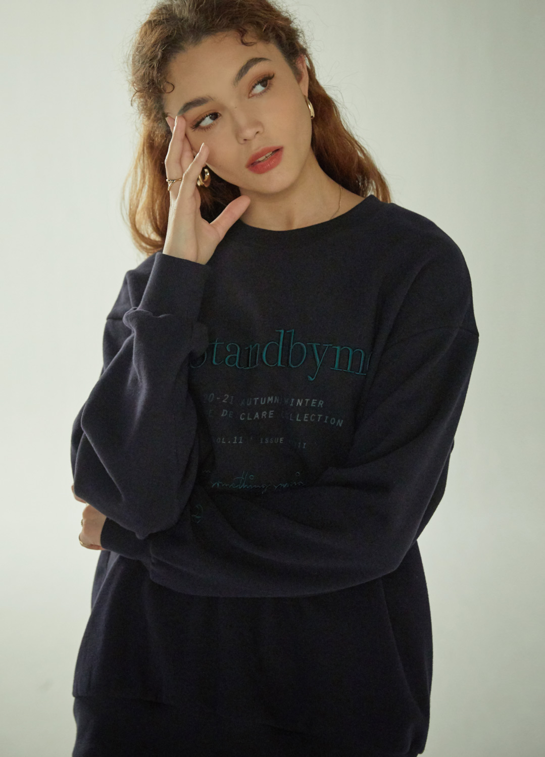 lettering sweat shirt Navy