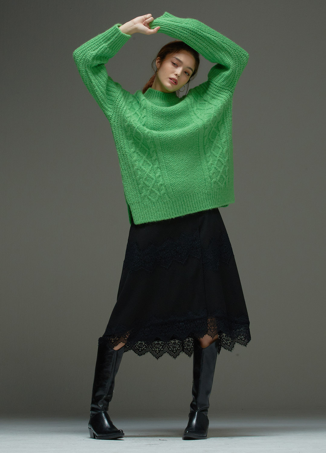 oversized fisherman sweater Green