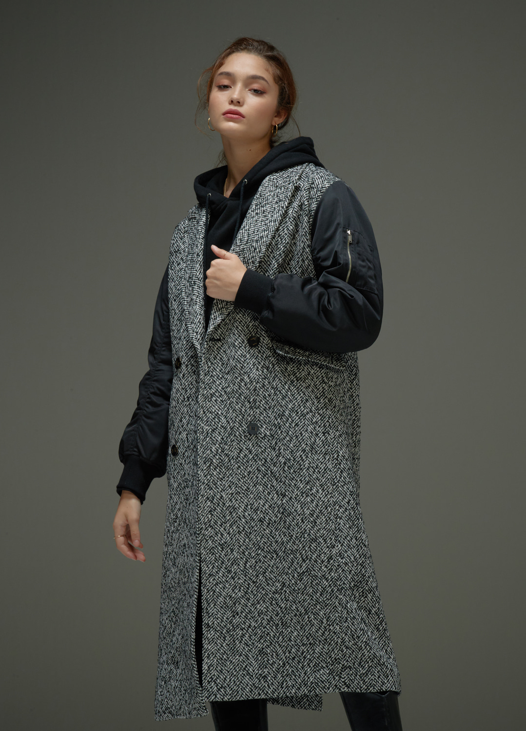 MA-1 sleeve coat Black