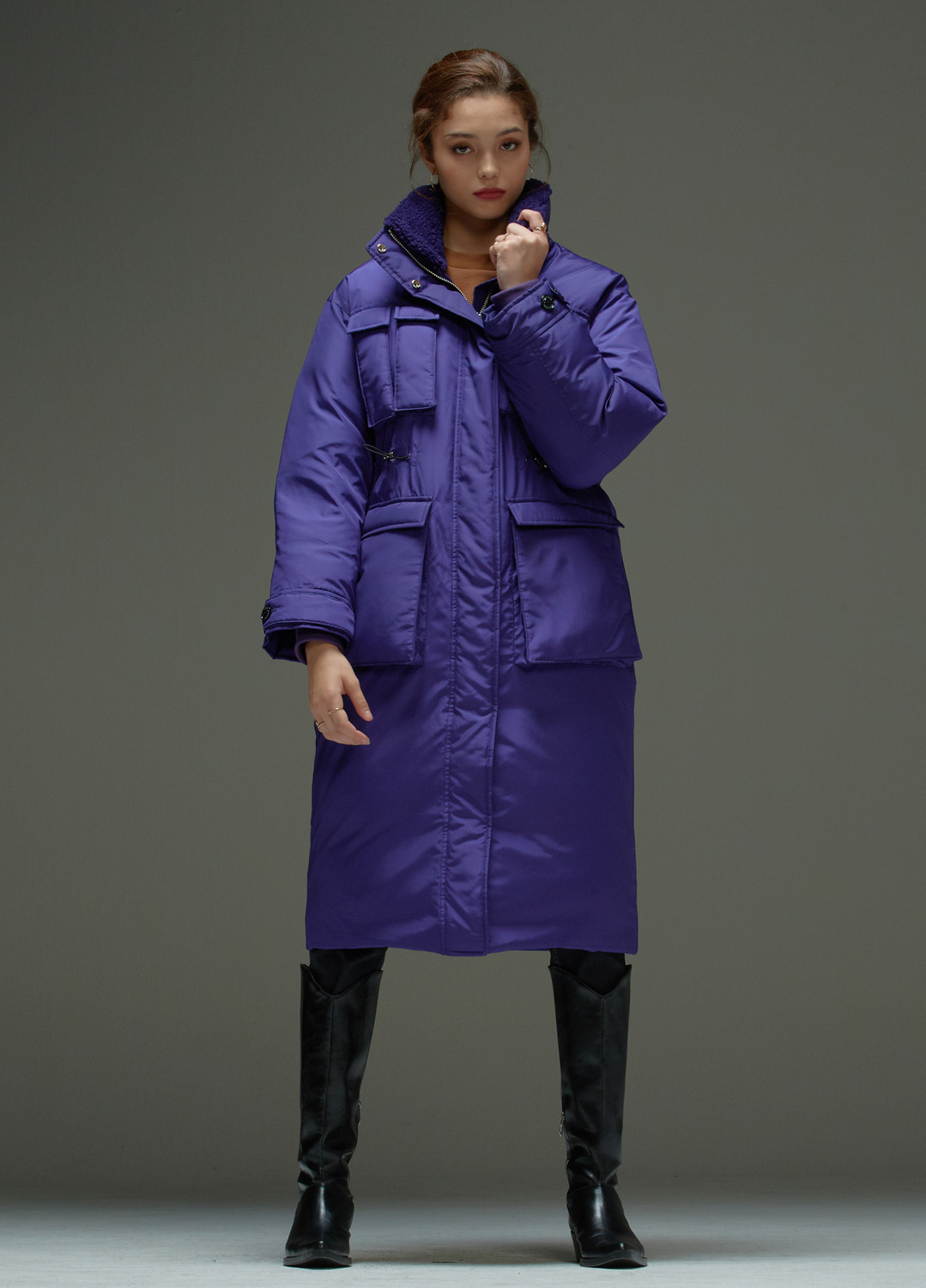 high neck padding coat Purple